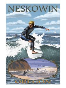 Surfer Scene - Neskowin, Oregon by Lantern Press