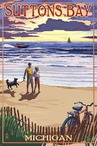 Suttons Bay, Michigan - Sunset on Beach by Lantern Press