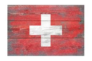 Switzerland Country Flag - Barnwood Painting by Lantern Press
