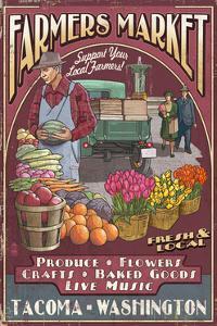 Tacoma, Washington - Farmers Market Vintage Sign by Lantern Press