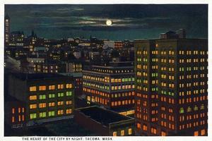 Tacoma, Washington, Heart of the City View at Night by Lantern Press