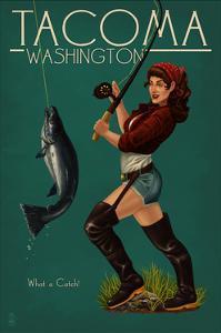 Tacoma, Washington - Pinup Girl Fishing by Lantern Press