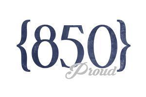 Tallahassee, Florida - 850 Area Code (Blue) by Lantern Press