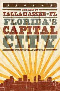 Tallahassee, Florida - Skyline and Sunburst Screenprint Style by Lantern Press