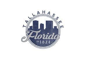 Tallahassee, Florida - Skyline Seal (Blue) by Lantern Press