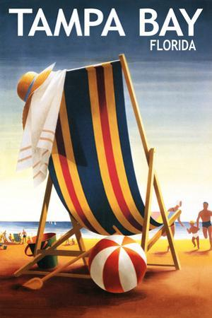 Tampa Bay, Florida - Beach Chair and Ball by Lantern Press