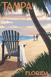 Tampa, Florida - Adirondack Chair on the Beach by Lantern Press