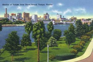 Tampa, Florida - Davis Island, Skyline View by Lantern Press