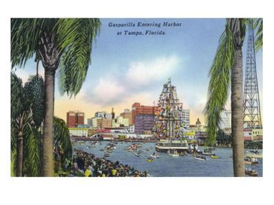 Tampa, Florida - Gasparilla Entering the Harbor Scene