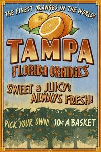 Tampa, Florida - Orange Grove Vintage Sign by Lantern Press