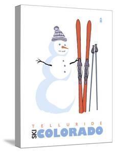 Telluride, Colorado, Snowman with Skis by Lantern Press