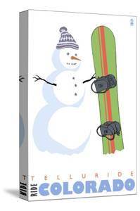 Telluride, Colorado, Snowman with Snowboard by Lantern Press