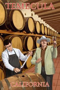 Temecula, California - Wine Barrels by Lantern Press