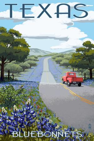 Texas - Bluebonnets and Highway by Lantern Press