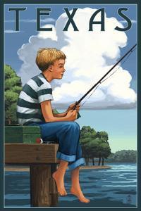 Texas - Boy Fishing by Lantern Press