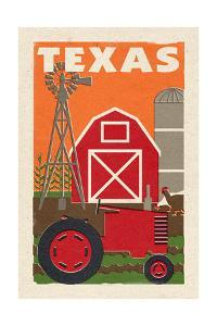 Texas - Country - Woodblock by Lantern Press