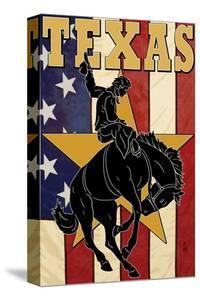 Texas - Cowboy with Bucking Bronco by Lantern Press