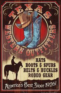 Texas - Hat and Boot Shop Vintage Sign by Lantern Press