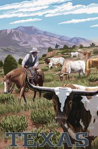 Texas - Longhorns by Lantern Press