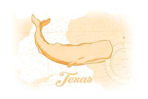 Texas - Whale - Yellow - Coastal Icon by Lantern Press