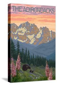 The Adirondacks - Bear and Spring Flowers by Lantern Press