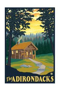 The Adirondacks - Cabin in the Woods by Lantern Press