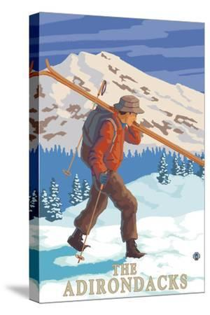The Adirondacks, New York State - Skier Carrying Skis