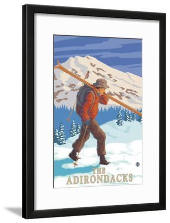 The Adirondacks, New York State - Skier Carrying Skis