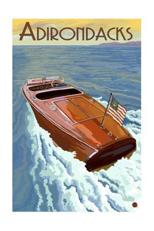 The Adirondacks - Wooden Boat on Lake