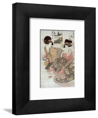 The Courtesan Tsukasa of Ogiya with Attendant, Japanese Wood-Cut Print