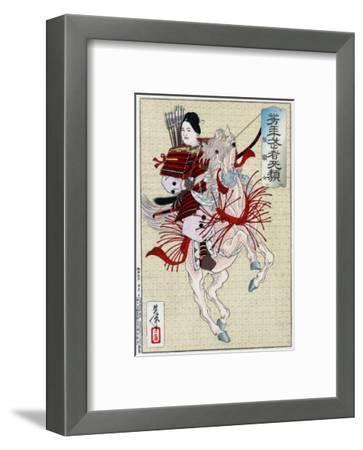 The Female Warrior Hangaku, Japanese Wood-Cut Print