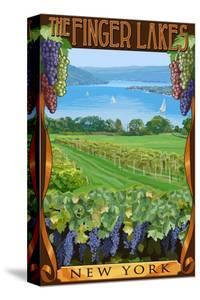 The Finger Lakes, New York - Vineyard Scene by Lantern Press