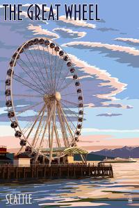 The Great Wheel at Sunset - Seattle, Washington by Lantern Press