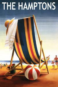 The Hamptons, New York - Beach Chair and Ball by Lantern Press