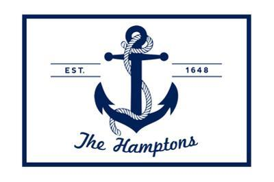 The Hamptons, New York - Blue and White Anchor by Lantern Press