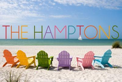 The Hamptons, New York - Colorful Beach Chairs by Lantern Press