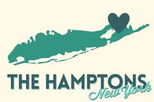 The Hamptons, New York - Heart Design by Lantern Press