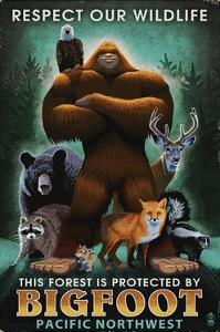 The Pacific Northwest - Respect Our Wildlife - Bigfoot by Lantern Press