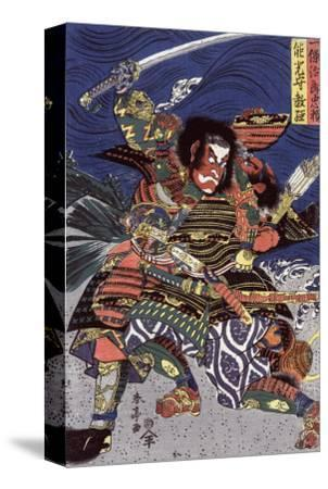 The Samurai Warriors Ichijo Jiro Tadanori and Notonokami Noritsune, Japanese Wood-Cut Print