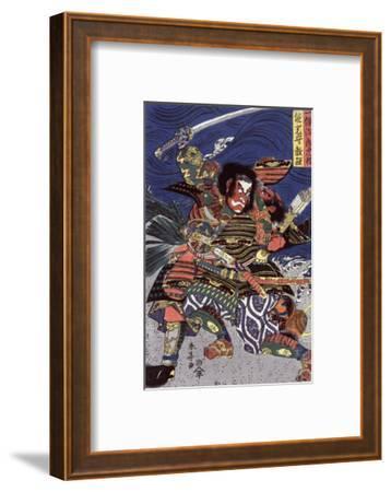 The Samurai Warriors Ichijo Jiro Tadanori and Notonokami Noritsune, Japanese Wood-Cut Print