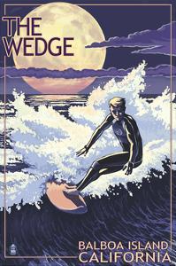 The Wedge - Balboa Island, California - Night Surfer by Lantern Press