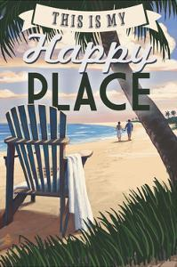 This is My Happy Place - Adirondack Chair and Sunset by Lantern Press