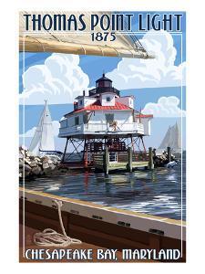 Thomas Point Light - Chesapeake Bay, Maryland by Lantern Press