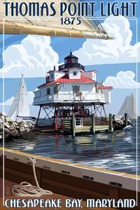 Thomas Point Light - Chesapeake Bay, Maryland by Lantern Press