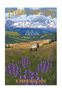Three Sisters, Oregon - Elk and Flowers by Lantern Press