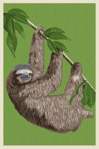 Three Toed Sloth - Letterpress by Lantern Press