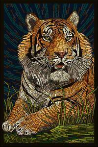 Tiger - Paper Mosaic by Lantern Press