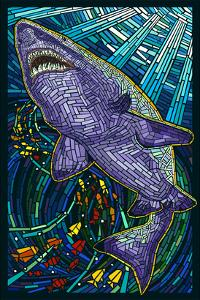 Tiger Shark Paper Mosaic by Lantern Press