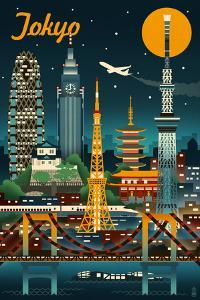 Tokyo, Japan - Retro Skyline by Lantern Press