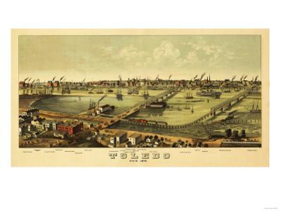 Toledo, Ohio - Panoramic Map by Lantern Press